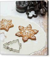 Gingerbread Making - Christmas Preparing With Vintage Kitchen Tools Canvas Print