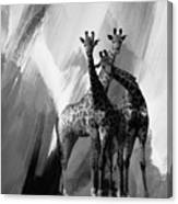 Giraffe Abstract Art Black And White Canvas Print