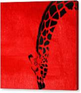 Giraffe Animal Decorative Red Wall Poster 3 - By  Diana Van Canvas Print