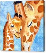 Giraffe Baby And Mother Canvas Print