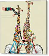 Giraffe Days Lets Tandem Canvas Print