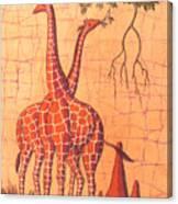 Giraffes Feeding Canvas Print
