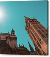La Giralda Bell Tower Brilliantly Lit In Teal And Orange Canvas Print