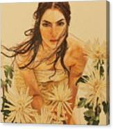 Girl Among The Flowers Canvas Print