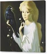 Girl And Bird Canvas Print