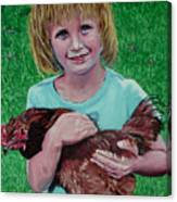 Girl And Chicken Canvas Print