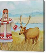 Girl And Deer Canvas Print