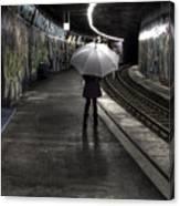 Girl At Subway Station Canvas Print