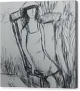 Girl At The Garden Canvas Print