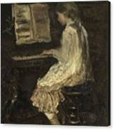 Girl At The Piano Canvas Print