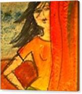 Girl Behind The Curtain Canvas Print