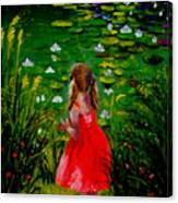 Girl By Lily Pond Canvas Print