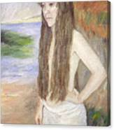 Girl By The Shore Canvas Print