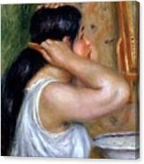 Girl Combing Her Hair Canvas Print
