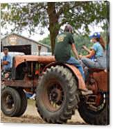 Girl Driving A Tractor Canvas Print