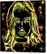 Girl Fireworks Canvas Print