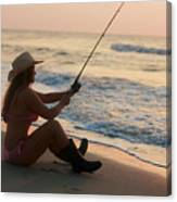 Girl Fishing Canvas Print