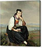 Girl From Hessen In Traditional Dress Canvas Print