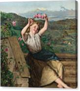 Girl Holding Up A Wreath Of Roses Canvas Print