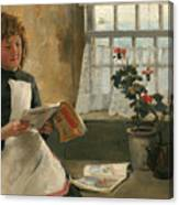 Girl In A Cottage Window Canvas Print