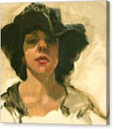 Girl In A Floppy Hat Canvas Print