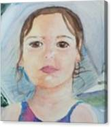 Girl In A Hat Portrait Canvas Print