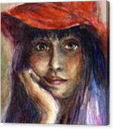 Girl In A Red Hat Portrait Canvas Print