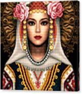 Girl In Bulgarian National Costume Canvas Print