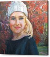 Girl In Late Fall Canvas Print