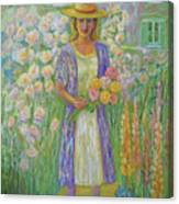Girl In Monet's Garden At Giverny Canvas Print