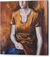 Girl In Orange Canvas Print