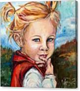 Girl In Red Jumper Canvas Print