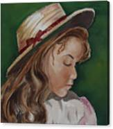 Girl In Ribboned Straw Hat Canvas Print