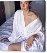 girl in the Bathrobe lying Canvas Print