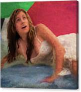 Girl In The Pool 3 Canvas Print