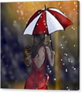 Girl In The Rain  Canvas Print