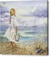 Girl And Ocean Watercolor Canvas Print