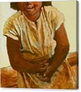 Girl On Bench Canvas Print