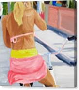 Girl On Bike Canvas Print