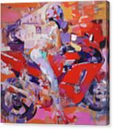 Girl On Red Bike Canvas Print