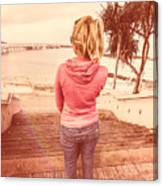 Girl On Redcliffe Travel Holiday Canvas Print