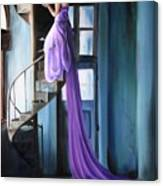 Girl On Staircase Canvas Print