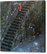 Girl On Stairs Canvas Print