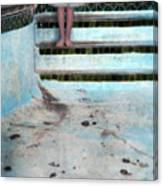 Girl On Steps Of Empty Pool Canvas Print