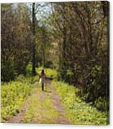 Girl On Trail With Walking Stick Canvas Print