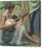 Girl Playing Domra  Canvas Print