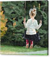 Girl Playing Outside Canvas Print