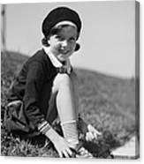 Girl Putting On Roller Skates, C.1930s Canvas Print