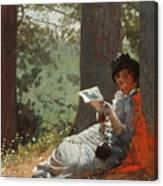 Girl Reading Under An Oak Tree Canvas Print
