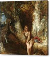 Girl Seated Beside A Woodland Pool Canvas Print